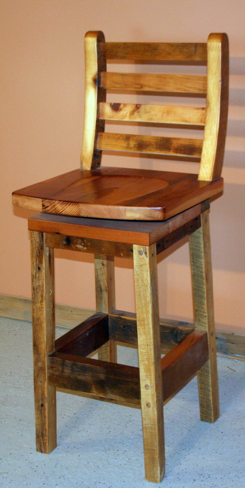Barnwood Swivel Bar stool BarnWood Furniture Designs