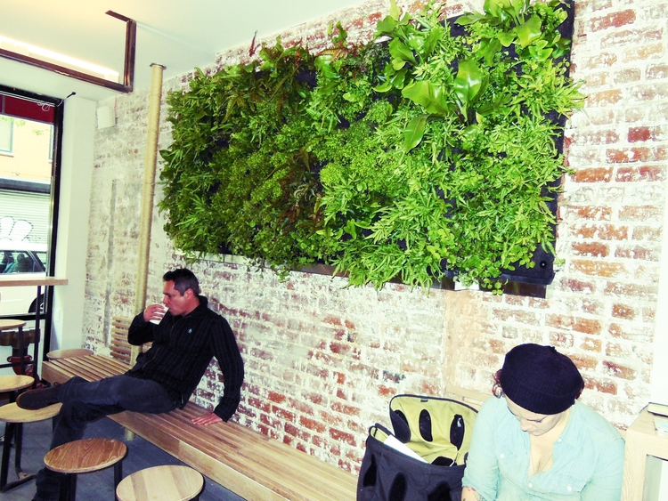 Rosella's interior design is clean with bare textures and a lush green wall made up of ferns.
