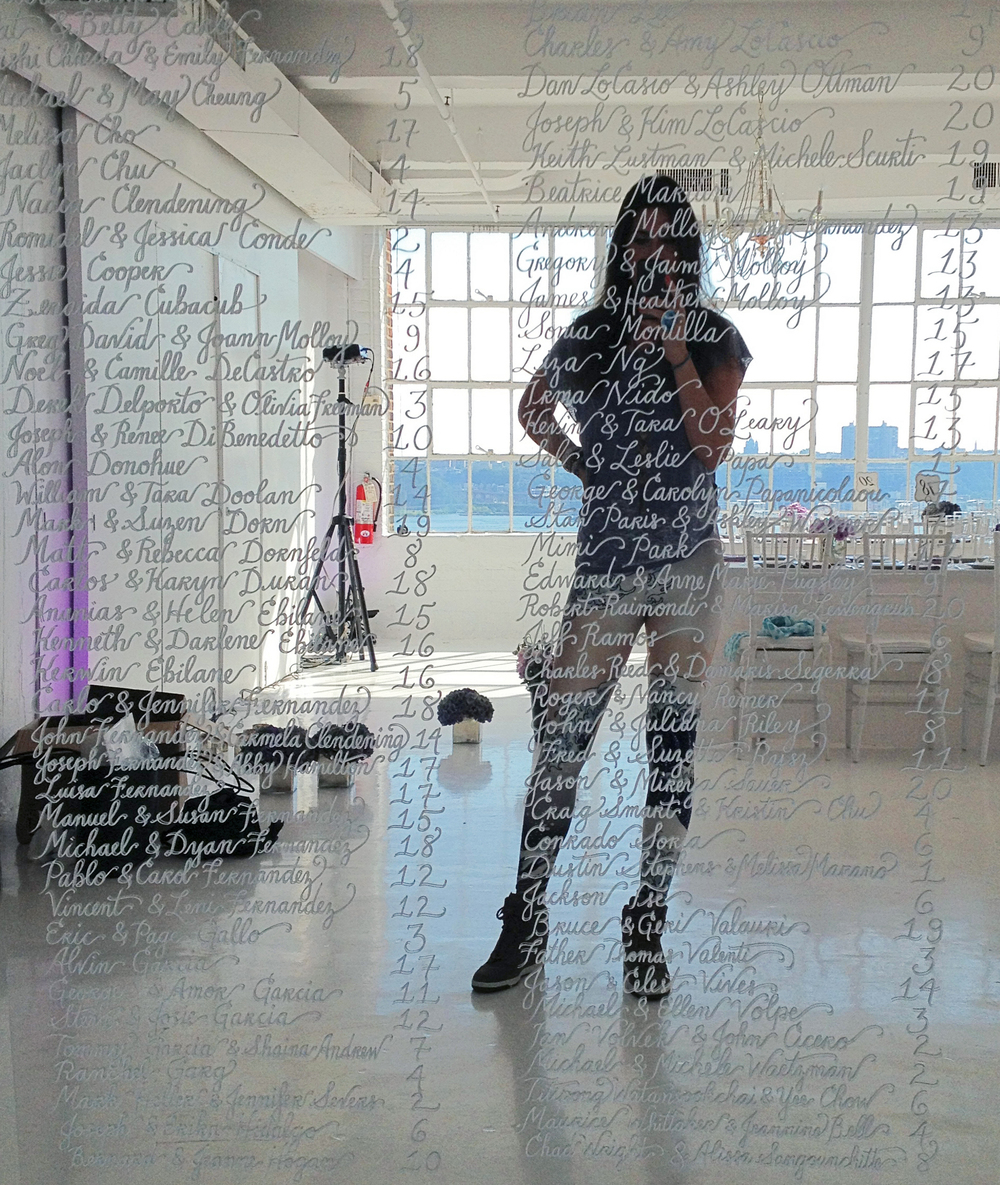 Mirror calligraphy at Studio 450, New York City