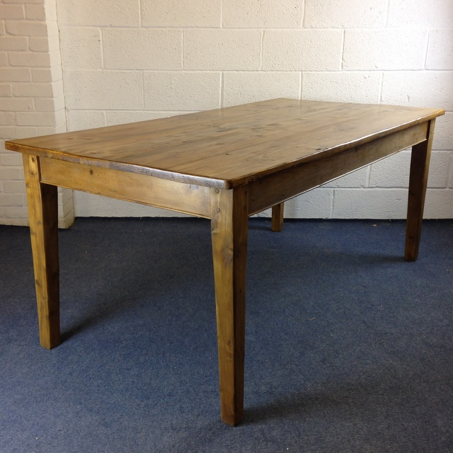 Tapered leg pine table made from old pine floorboards