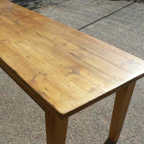 Pine table made from old pine floorboards with tapered legs