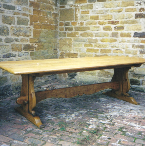 Trestle style pine table made from old pine floorboards