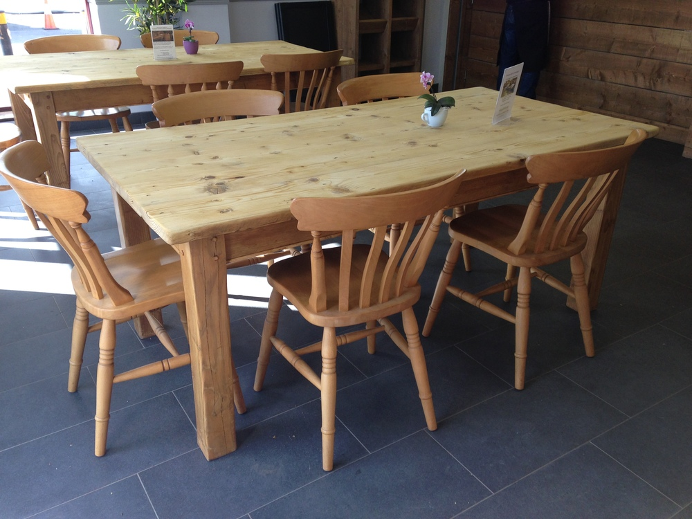 Made to measure pine tables with chunky square legs