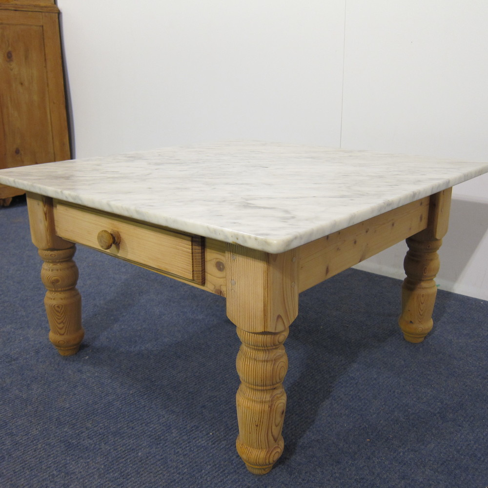 Marble Coffee Table With Drawers: Marble Top Pine Coffee Table With Drawer (d3509a