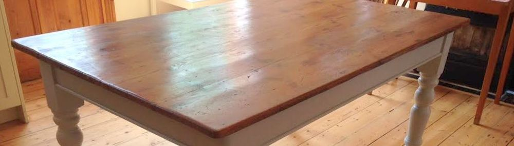 Pine table top made from old pine floorboards