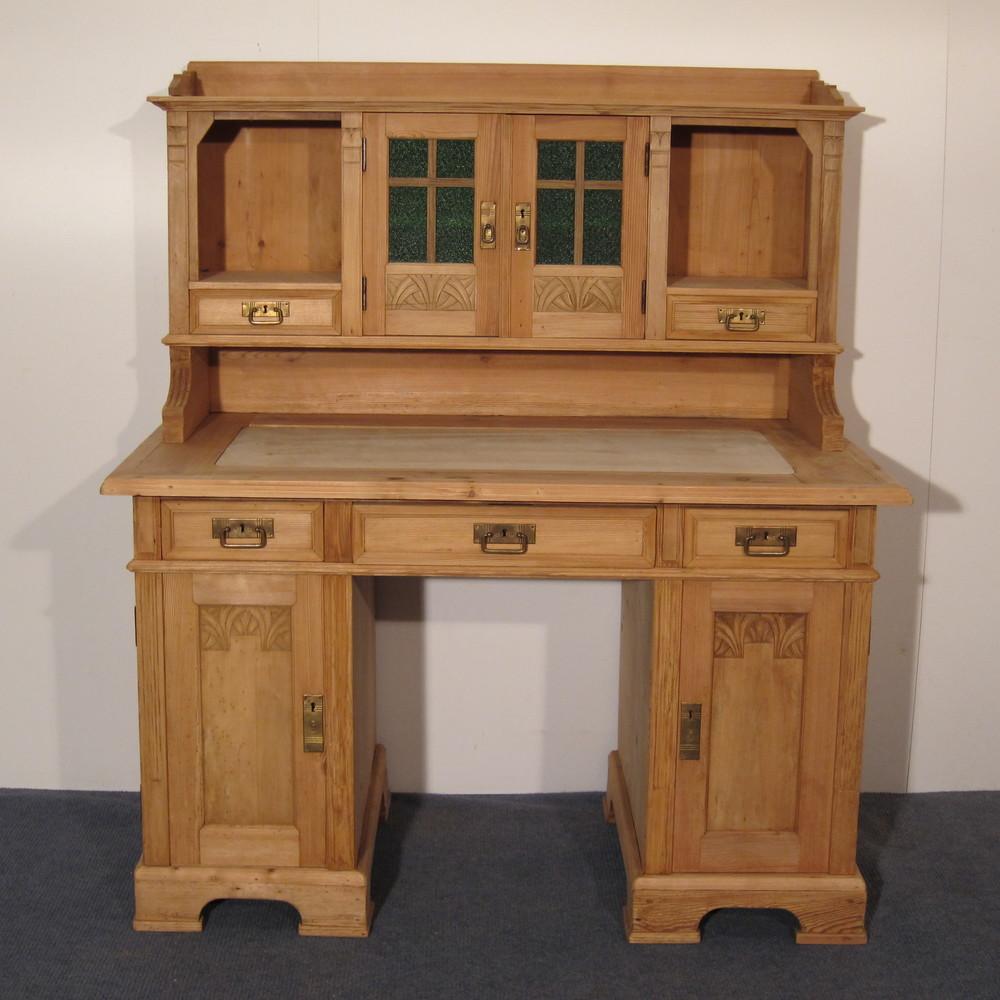 Grand Antique Pine Study Desk (f6801d) - Antique Pine Desks — Pinefinders Old Pine Furniture Warehouse