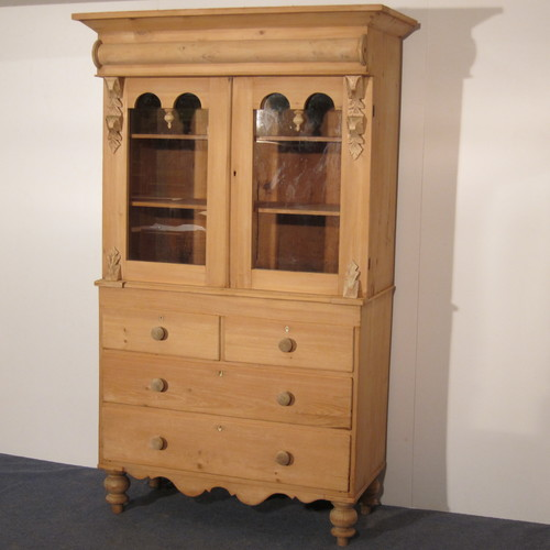 Late 1800's Scottish China Cabinet (f6008d) - Antique Pine Dressers — Pinefinders Old Pine Furniture Warehouse