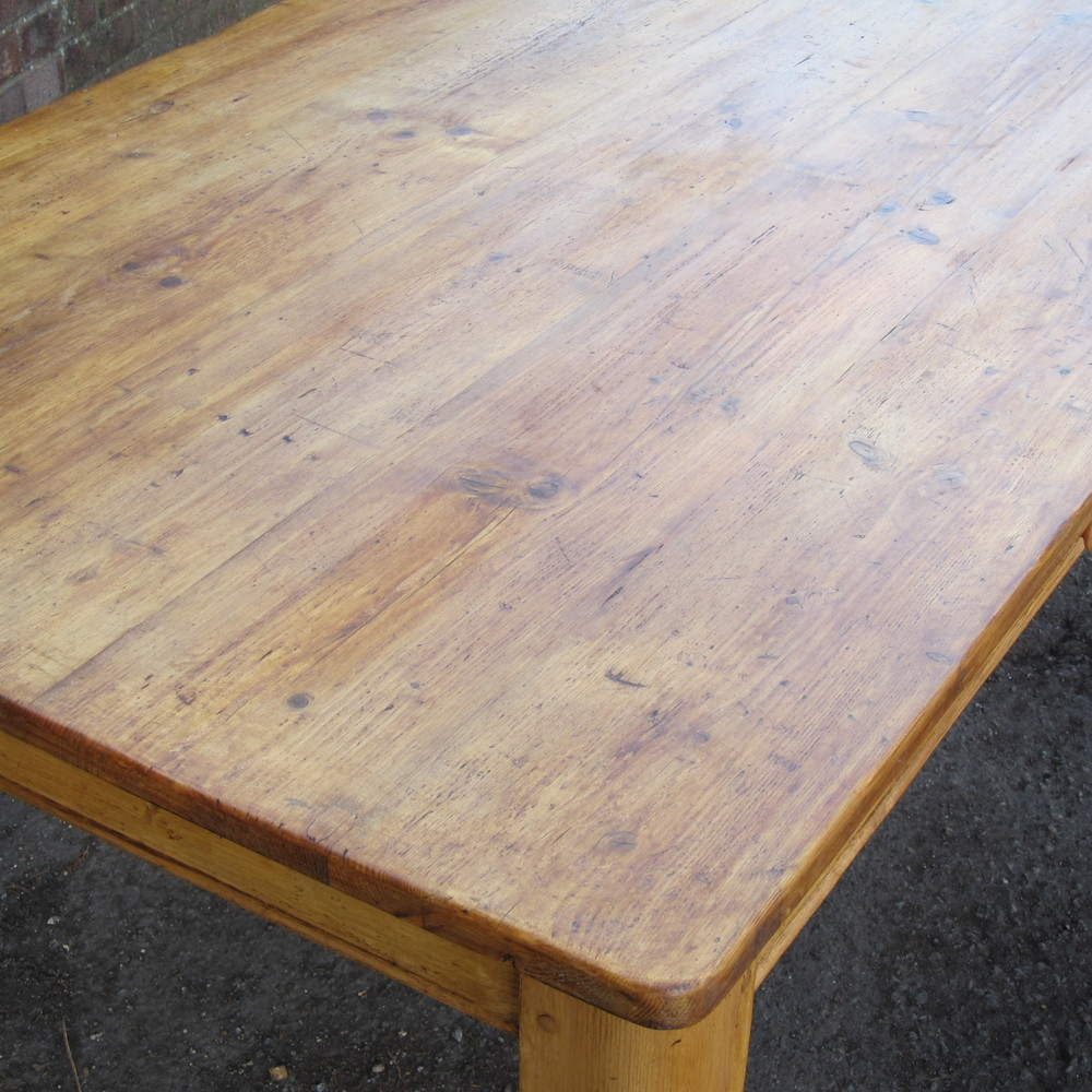table top made from old pine floorboards