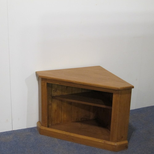 Small Pine Corner TV Stand with Storage (h72451+) - Antique Pine Cupboards, Bases, Sideboards — Pinefinders Old Pine