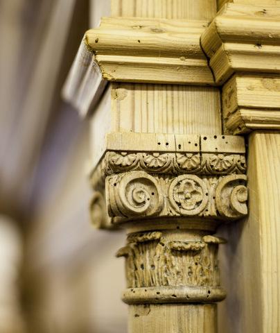 decorative old pine column carving