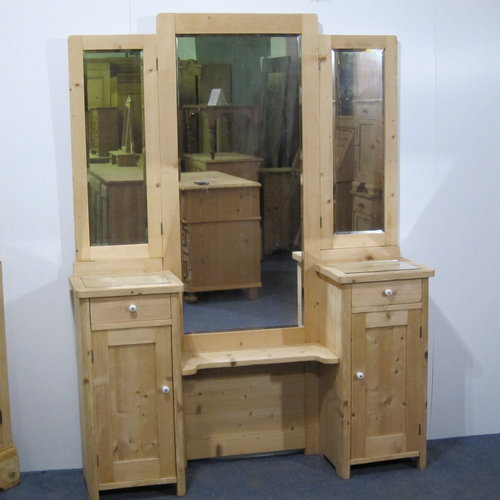 Antique Pine Triple Mirror Vanity Stand (M4905B) - Antique Pine Cupboards, Bases, Sideboards — Pinefinders Old Pine