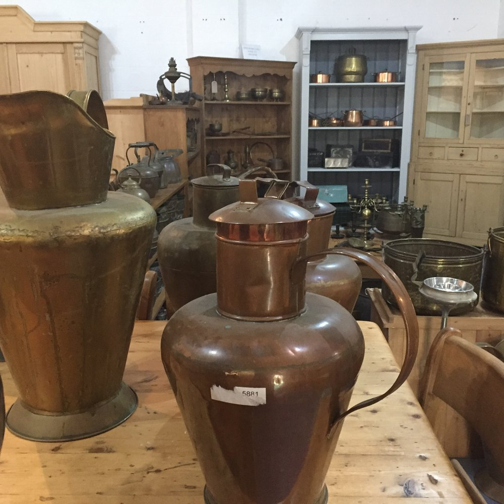 Large Antique Copper Water Jugs