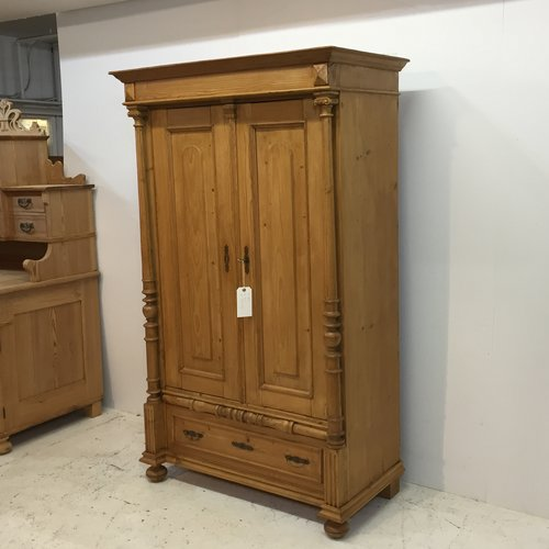 Antique Pine Child's Wardrobe / Linen Cupboard (T0455D) - Antique Pine Cupboards, Bases, Sideboards — Pinefinders Old Pine