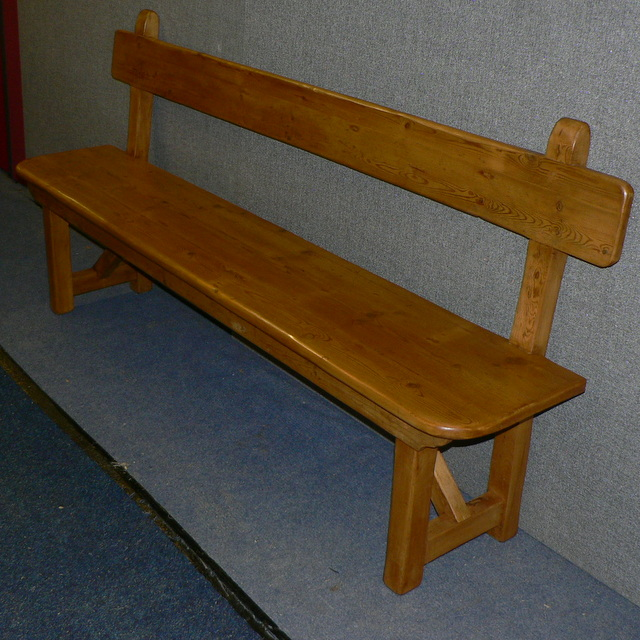 pine bench with backrest