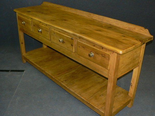 4 drawer pine floorboard pot board console table