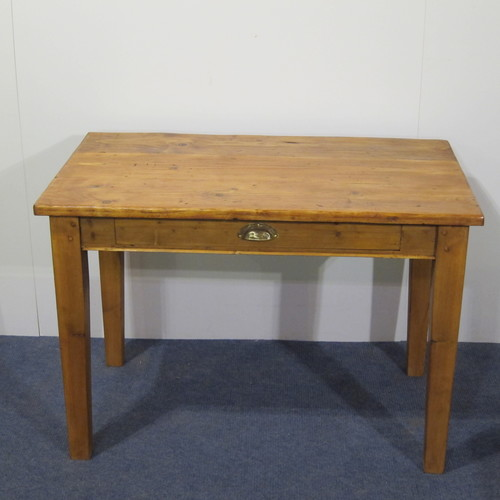 small pine table with a drawer