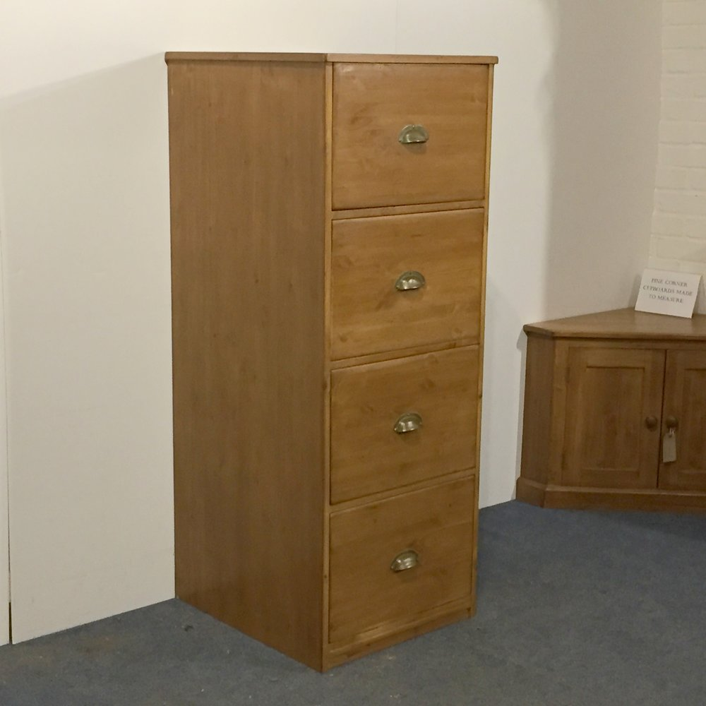 Pine filing cabinet with 4 drawers