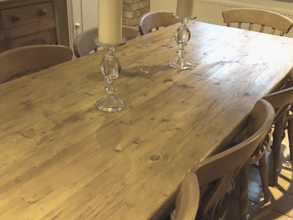 Large bespoke pine table