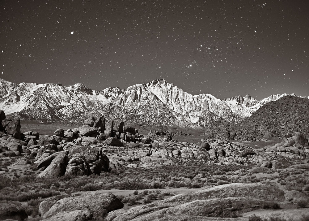 Sierra Nevada Mountains and Alabama Hills in Moonlight, Winter, 2017