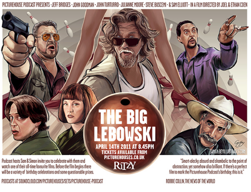 THE BIG LEBOWSKI quad poster illustration by Sam Gilbey
