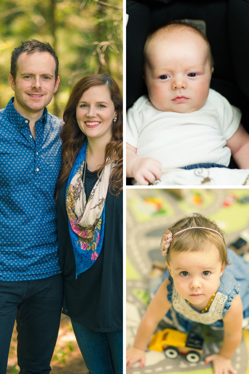 (left) Tori and husband Grayson (top right) Ari Brave, 12 weeks (bottom right) Aliza Day, 2  all photos taken by  Seth Snider