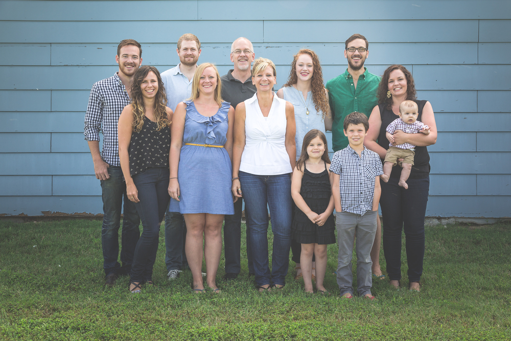 (back row, left to right) son Aaron, son-in-law Scott, husband Brian, daughter Hannah, son Jacob (front row, left to right) daughter-in-law Jesse, daughter Bethany, Donna, granddaughter Sophie, grandson Sebastian, daughter-in-law Amy, grandson Benjamin (photo by Steve Lammè)