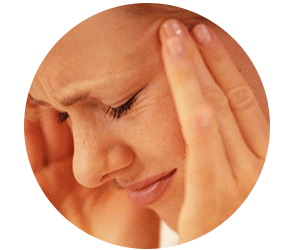TMJ symptoms can include throbbing headaches.