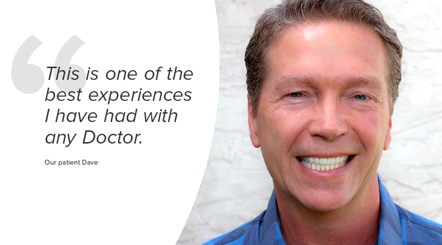 Dave sought TMJ pain treatment and a smile makeover with cosmetic porcelain restoration with Dr. Green