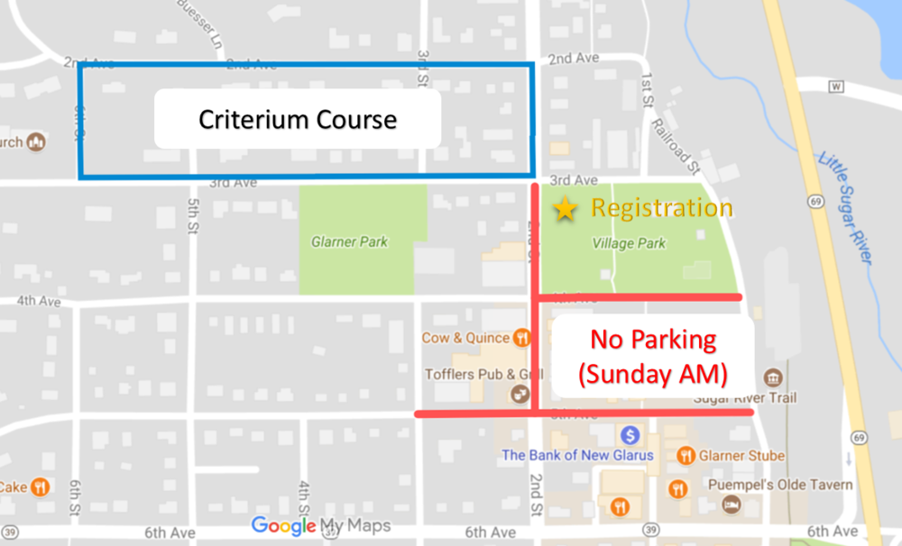 Downtown New Glarus has several churches with services on Sunday morning. Please be courteous to churchgoers and refrain from parking on the roads marked in red above.