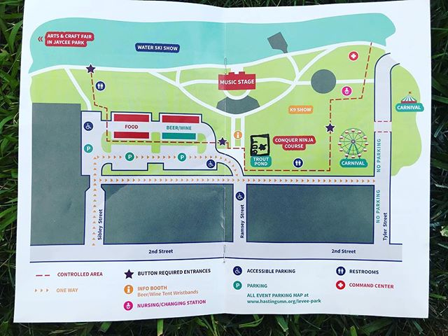 Here we are on the Rivertown Days map! Don't forget the new location- Levee Park!Come down and see us at Levee Park we have water for $1, Shrek ears for $5, Shrek tickets for $18, and Shrek T-Shirts for $15! #BDTShrek #hastingsnow