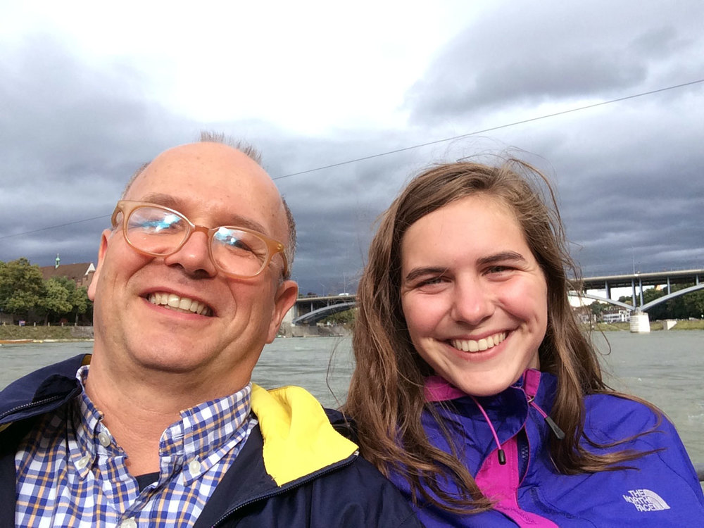 My daughter and me taking a water taxi across the Rhine in Basel