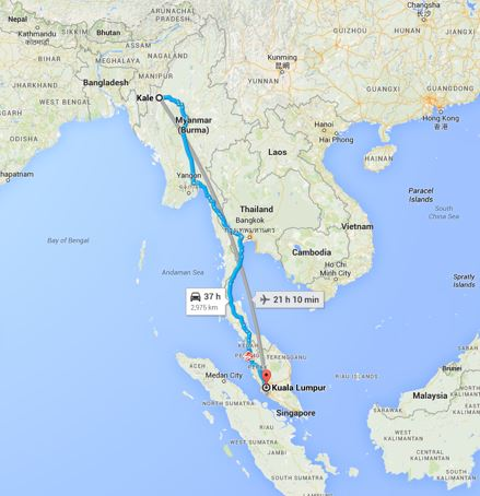 See route by air: Google maps doesn't recognize refugee escape routes as an appropriate means of travel.