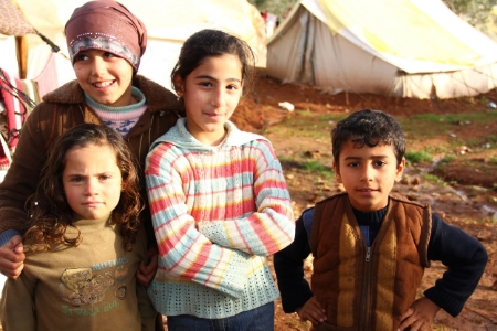 Syrian refugee children in a camp in Turkey