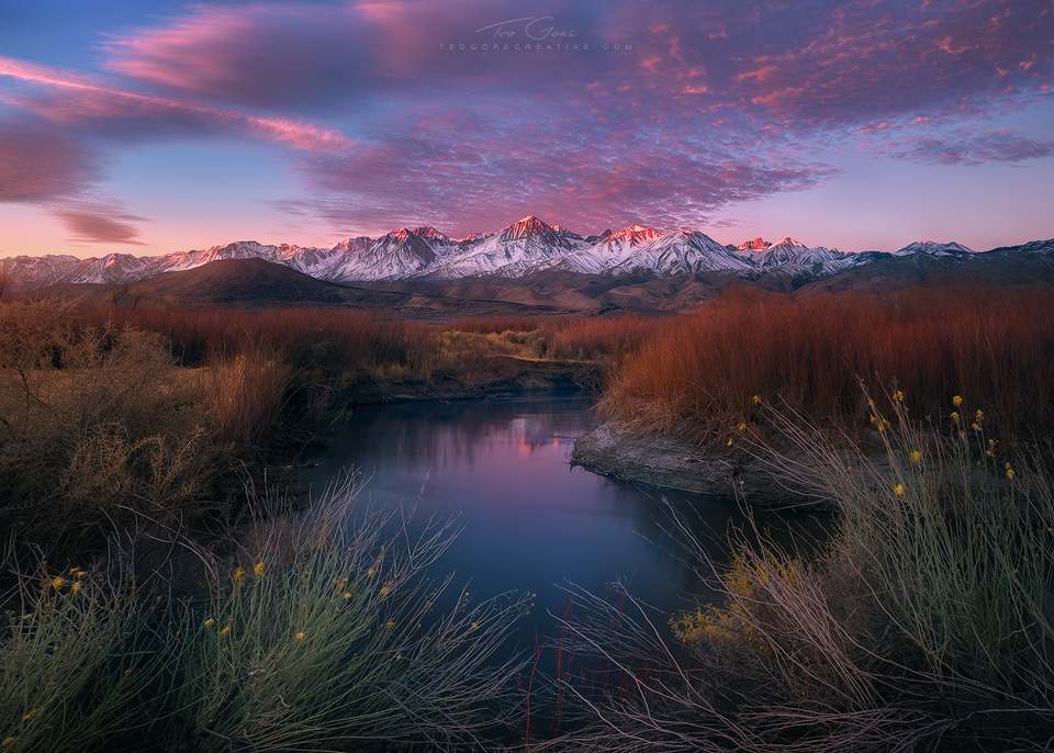 Owens River at the base of the Sierra Nevada Range