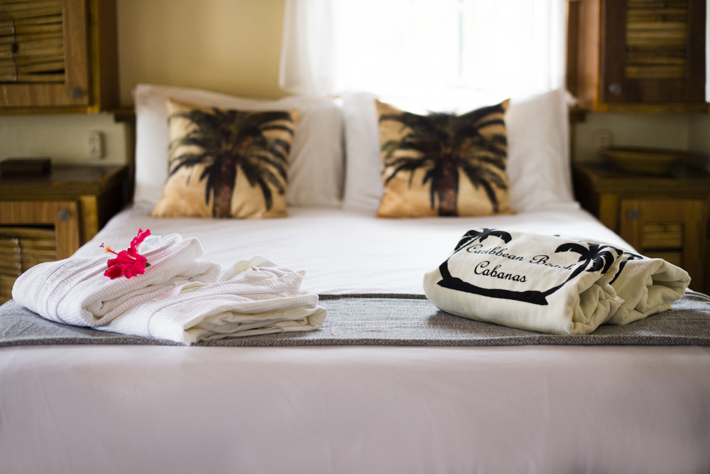 Luxury bathrobes and resort beach towels will be waiting for you at arrival