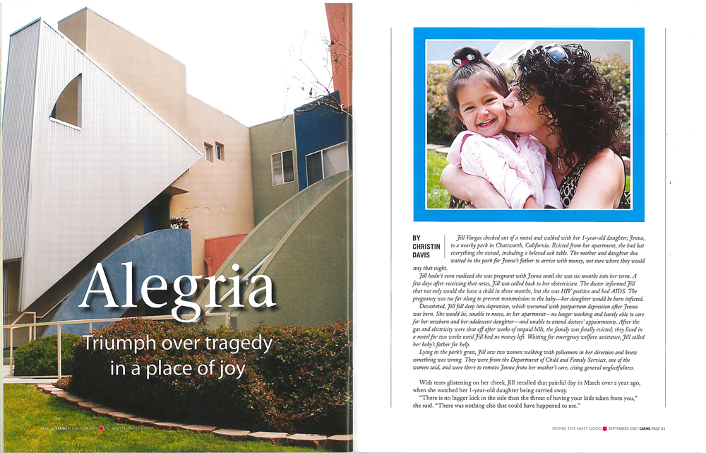 ALEGRIA: TRIUMPH OVER TRAGEDY IN A PLACE OF JOY, Caring, fall 2007