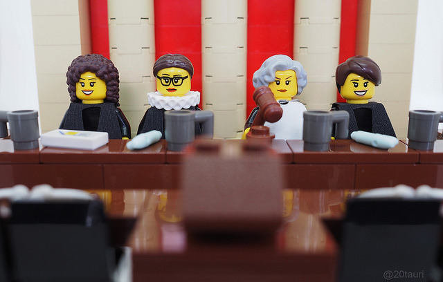 Legal Justice League by pixbymaia   Custom LEGO minifigures of the first four female justices of the U.S. Supreme Court: (l-r) Sonia Sotomayor, Ruth Bader Ginsburg, Sandra Day O'Connor, and Elena Kagan. Set and photo by Maia Weinstock.