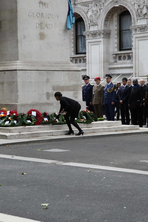 Laying a wreath to commemorate fallen peacekeepers on the International Day of UN Peacekeepers, May 2014 © UNA-UK