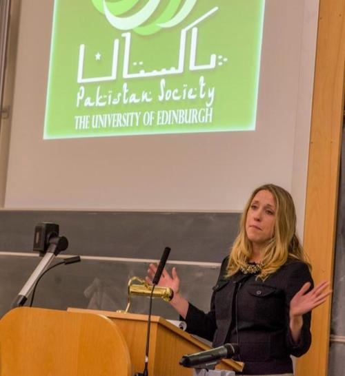 Addressing a student group at the University of Edinburgh about drone warfare in 2012