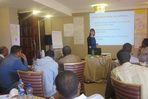 Delivering media training in Addis Ababa, Ethiopia to local teams from Oxfam, BBC Media Action, Action Aid and the Met Office