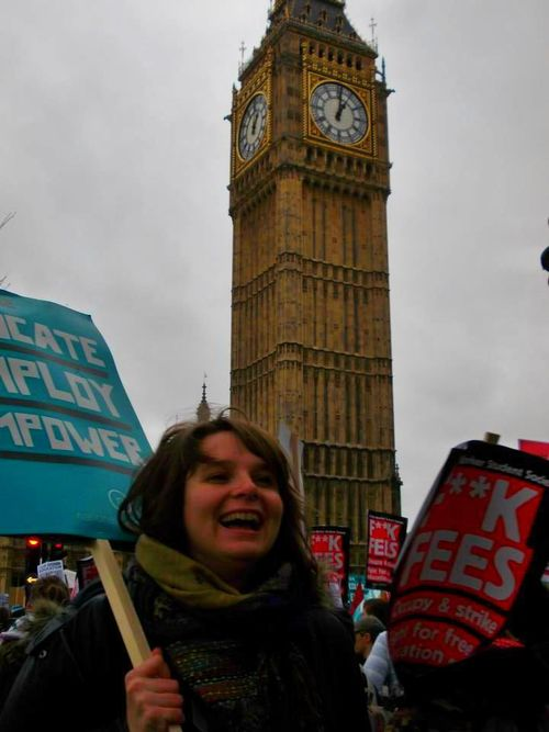 At the 'Reclaim your Future' protest march, organised by the National Student Union, Autumn 2012
