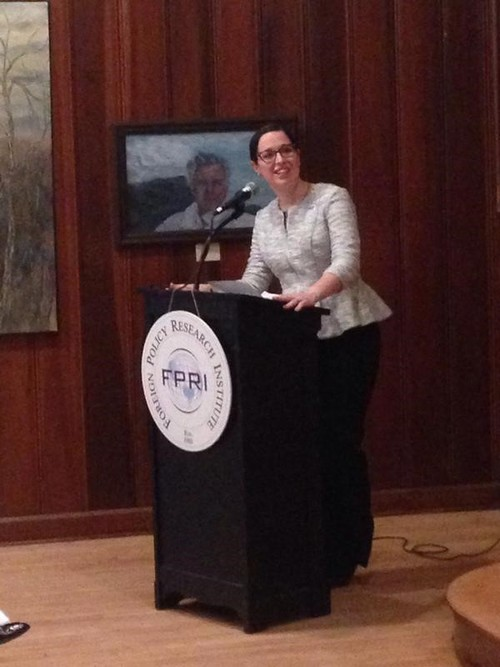Moderating a discussion at an FPRI event