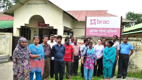 With staff from BRAC, working on a project on community security in Gopalganj, Bangladesh, 2013