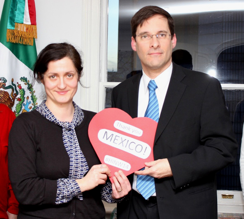 With the Mexican Ambassador in London in February 2014