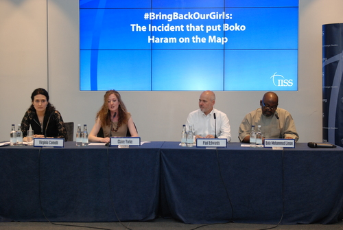 Chairing an IISS and WIIS UK event on Boko Haram with Virginia Comolli, Paul Edwards, and Bala Mohammed Liman