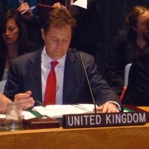 September 2013 United Nations General Assembly, behind Nick Clegg's shoulder