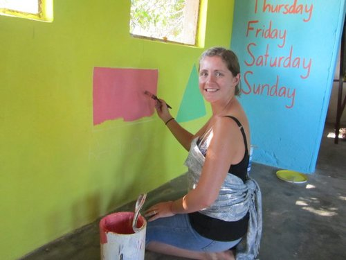 Painting a school in Mwaya, Malawi