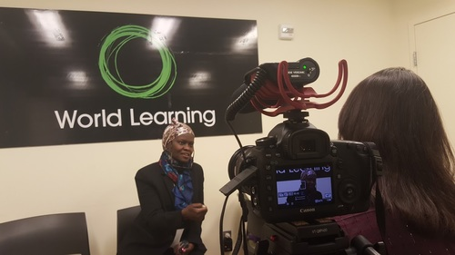 Conducting an interview at World Learning for the State Department's Women of Courage Awards