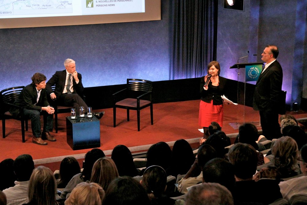 "Presenting the crisis mapping work of Ushahidi Haiti at the event ""Faster Disasters"" with CNN's Anderson Cooper at the Paley Center for Media in New York."