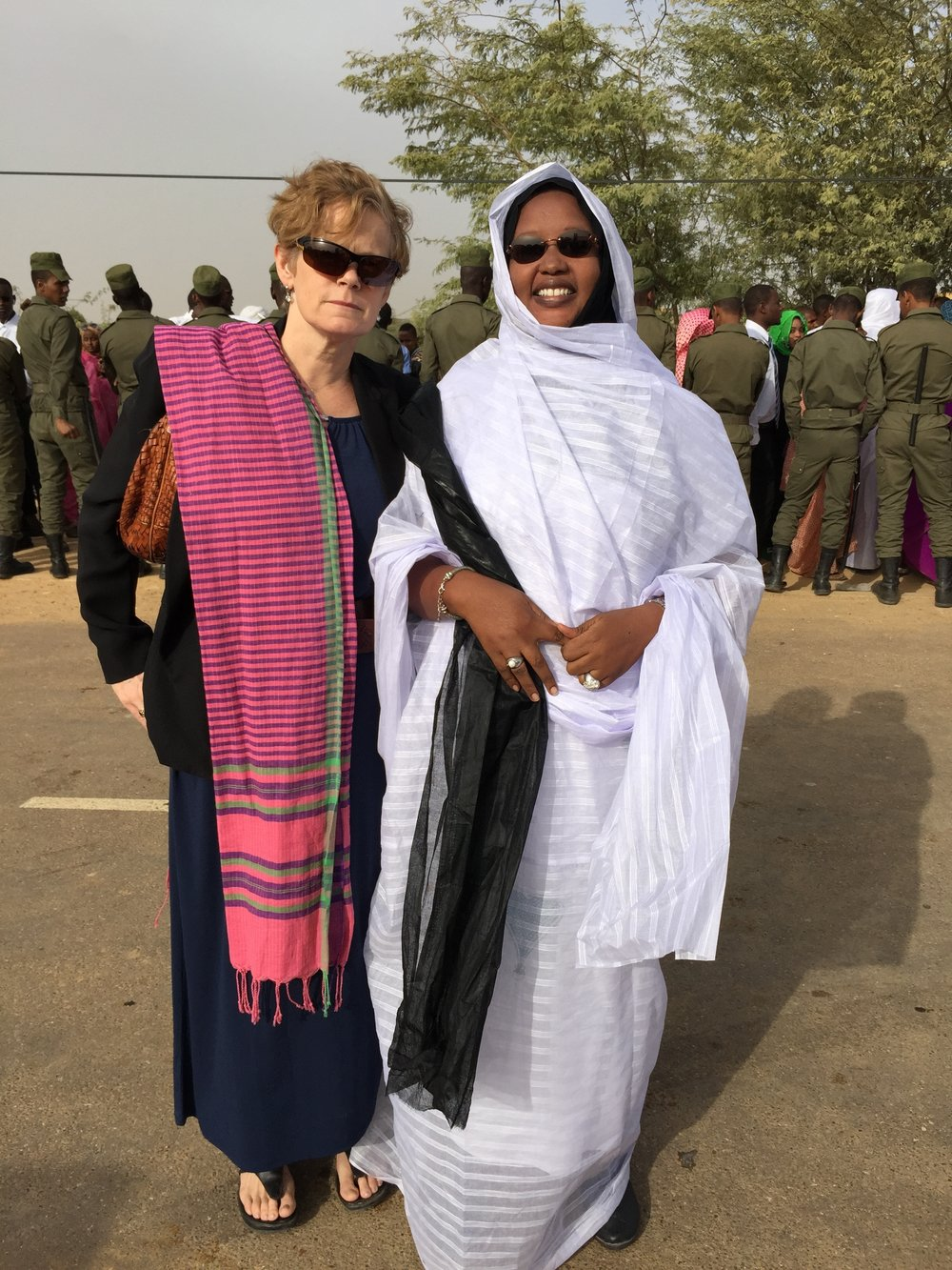Alice Bullard with Leila Ahmed, Mr. Abeid's wife, waiting for the verdict to the 2014 trial